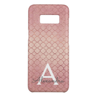 Pink Rose Gold Elegant Pattern Monogram Case-Mate Samsung Galaxy S8 Case