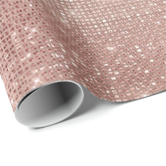 Pink Rose Gold Faux Brush Sparkly Diamond Metallic Wrapping Paper