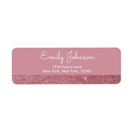 Pink Rose Gold Faux Glitter Address Label