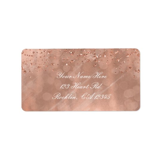 Pink Rose Gold Faux Glitter Glamour Invitation Label