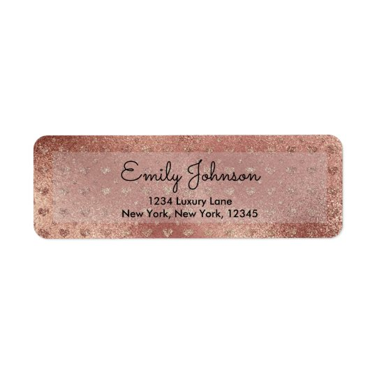 Pink Rose Gold Faux Glitter Hearts Address Label