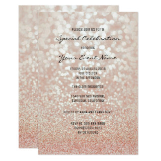 Pink Rose Gold Faux Glitter Silver Minimal Formal Card