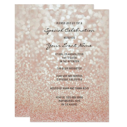 Pink Rose Gold Faux Glitter Silver Minimal Formal