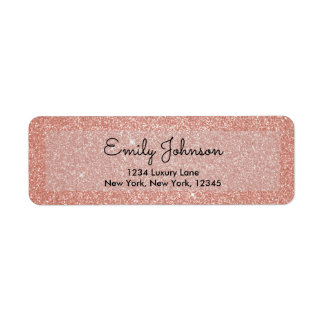 Pink Rose Gold Faux Glitter Sparkle Address Label