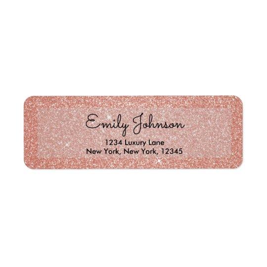 Pink Rose Gold Faux Glitter Sparkle Address Label