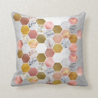 Pink Rose Gold Faux Metall Marble Hexagons Silver Throw Pillow
