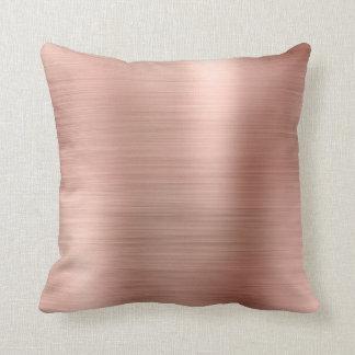 Pink Rose Gold Faux Powder Diamond Sequin Metal Cushion