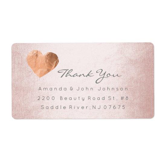 Pink Rose Gold Foil Heart Stroke Thank You