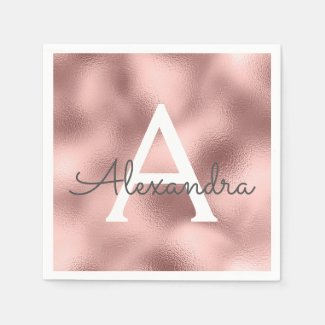 Pink Rose Gold Foil & Sparkle Monogram Birthday Napkin