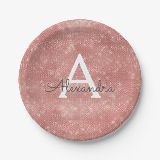 Pink Rose Gold Girly Sparkle Monogram Birthday Paper Plate