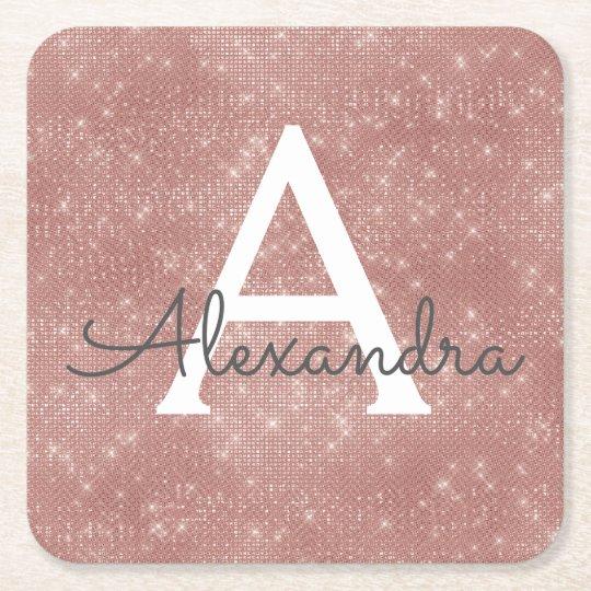 Pink Rose Gold Girly Sparkle Monogram Birthday Square Paper Coaster
