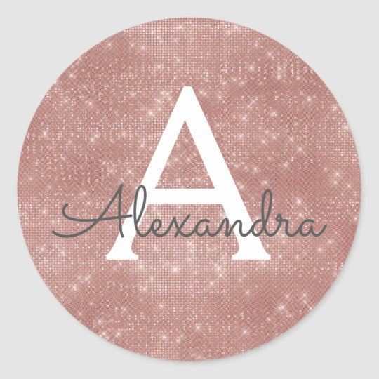 Pink Rose Gold Girly Sparkle Monogram Classic Round Sticker