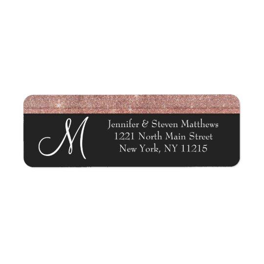 Pink Rose Gold Glitter and Black Monogram Labels
