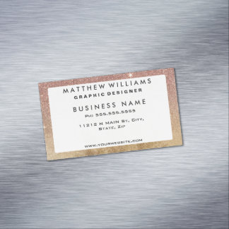 Pink Rose Gold Glitter and Gold Foil Mesh Magnetic Business Cards