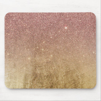 Pink Rose Gold Glitter and Gold Foil Mesh Mouse Pad
