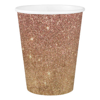 Pink Rose Gold Glitter and Gold Foil Mesh Paper Cup