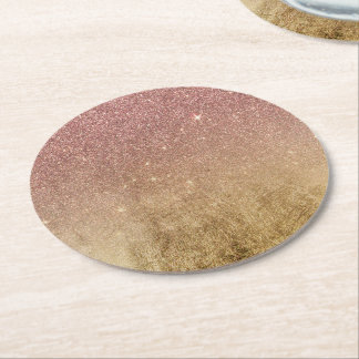 Pink Rose Gold Glitter and Gold Foil Mesh Round Paper Coaster