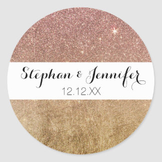 Pink Rose Gold Glitter and Gold Foil Mesh Round Sticker