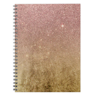 Pink Rose Gold Glitter and Gold Foil Mesh Spiral Notebook