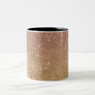 Pink Rose Gold Glitter and Gold Foil Mesh Two-Tone Coffee Mug