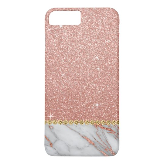 Pink Rose Gold Glitter and Sparkle Marble iPhone