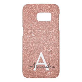 Pink Rose Gold Glitter and Sparkle Monogram