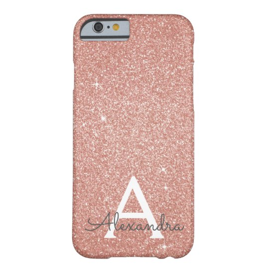 Pink Rose Gold Glitter and Sparkle Monogram Barely
