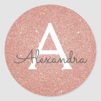 Pink Rose Gold Glitter and Sparkle Monogram Classic Round Sticker