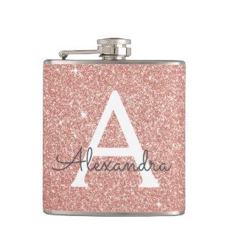 Pink Rose Gold Glitter and Sparkle Monogram Hip Flask