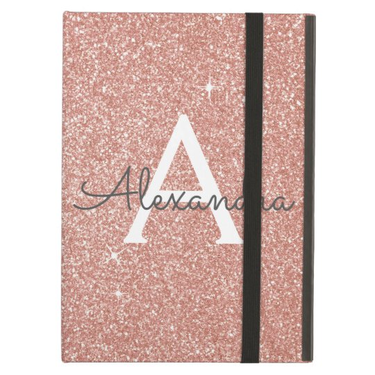 Pink Rose Gold Glitter and Sparkle Monogram iPad Air Case