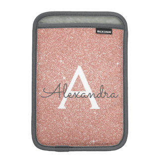 Pink Rose Gold Glitter and Sparkle Monogram iPad Mini Sleeve