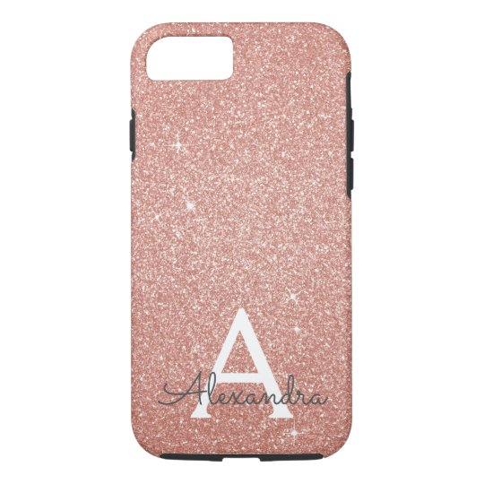 Pink Rose Gold Glitter and Sparkle Monogram iPhone