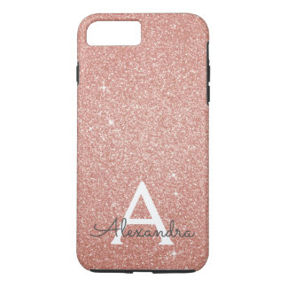 Pink Rose Gold Glitter and Sparkle Monogram iPhone 8 Plus/7 Plus Case
