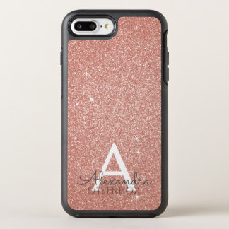 Pink Rose Gold Glitter and Sparkle Monogram OtterBox Symmetry iPhone 8 Plus/7 Plus Case