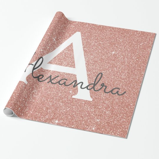 Pink Rose Gold Glitter And Sparkle Monogram Wrapping Paper