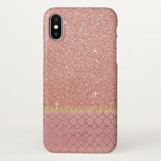 Pink Rose Gold Glitter and Sparkle Pattern iPhone X Case