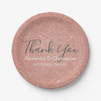 Pink Rose Gold Glitter and Sparkle Thank You Paper Plate