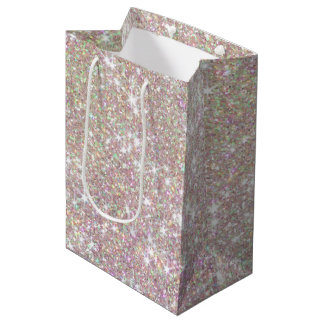 Pink Rose Gold Glitter Confetti Medium Gift Bag