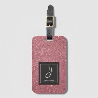 Pink Rose Gold Glitter Elegant Monogram Lugage Tag
