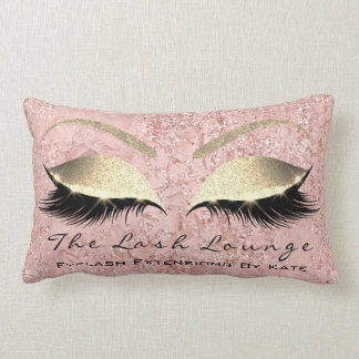 Pink Rose Gold Glitter Glam Makeup Lashes Beauty Lumbar Cushion