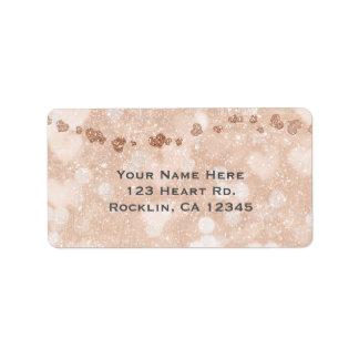 Pink Rose Gold Glitter Hearts Party Invitation Address Label