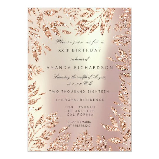 Pink Rose Gold Glitter Leafs Floral Frame Pearly