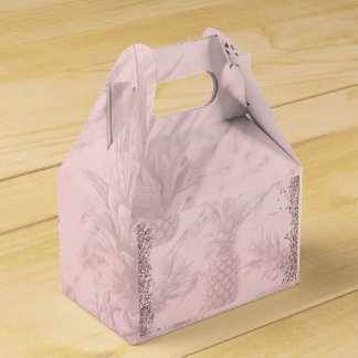 Pink Rose Gold Glitter Pineapple Tropical Party Favour Box