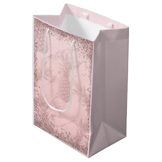 Pink Rose Gold Glitter Pineapple Tropical Party Medium Gift Bag