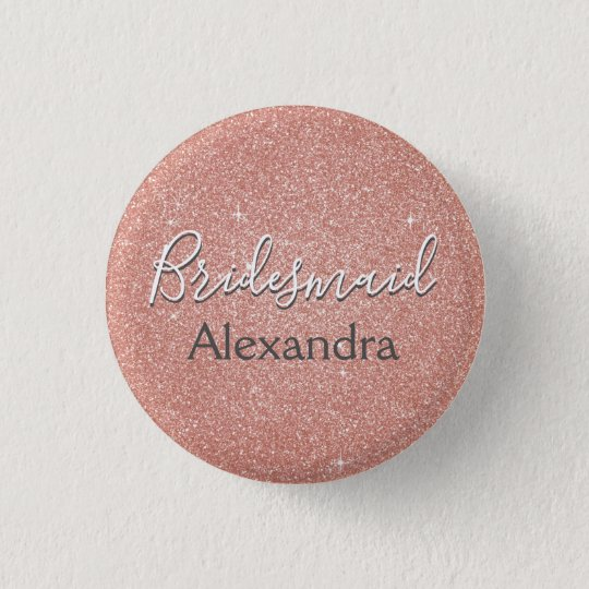 Pink Rose Gold Glitter & Sparkle Bridesmaid 3 Cm Round Badge