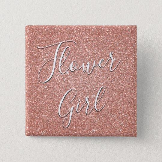 Pink Rose Gold Glitter & Sparkle Flower Girl 15 Cm Square Badge