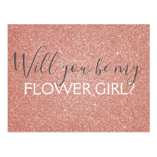 Pink Rose Gold Glitter & Sparkle Flower Girl Postcard