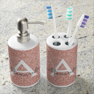 Pink Rose Gold Glitter & Sparkle Monogram Bathroom Set