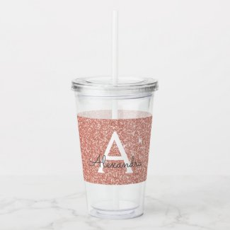 Pink Rose Gold Glitter & Sparkle Monogram Birthday Acrylic Tumbler