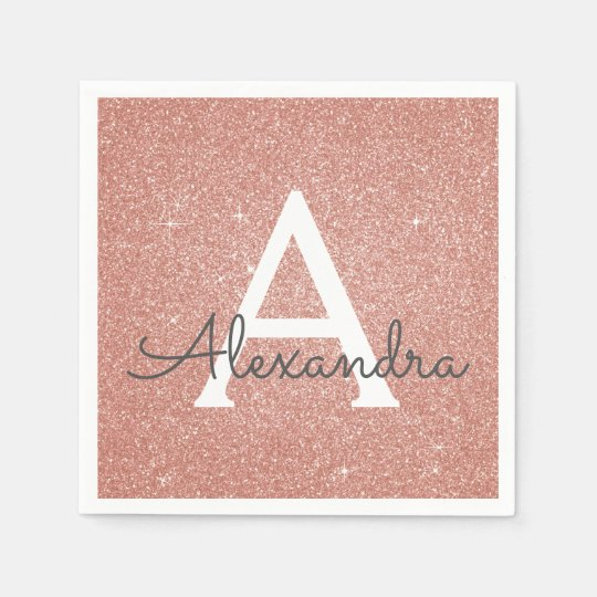 Pink Rose Gold Glitter & Sparkle Monogram Birthday
